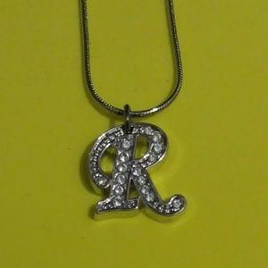 """NIB Silver Rhinestone Initial Necklace """"R"""""""